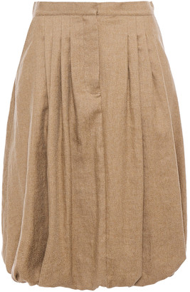 Burberry Gathered Pleated Linen-blend Twill Skirt