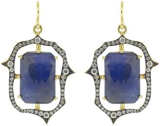 Sylva & Cie Emerald Shaped Saphire Earrings