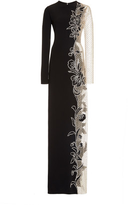 Oscar de la Renta Lace-Paneled Embellished Jersey Gown