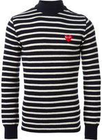 Comme des Garcons embroidered heart striped sweater