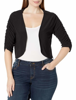Star Vixen Women's Plus Size Elbow Sleeve Rouched Ity Knit Bolero
