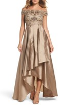 Adrianna Papell Women's Embellished High/low Off The Shoulder Dress