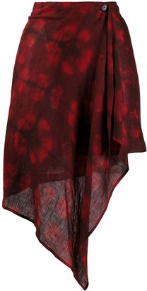 Romeo Gigli Pre Owned 1990s abstract print wrap skirt