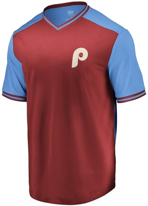 Majestic Men's Burgundy/Light Blue Philadelphia Phillies Good Graces Cooperstown Collection V-Neck T-Shirt