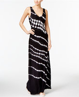 INC International Concepts Petite Printed Embellished Ruched Maxi Dress, Only at Macy's