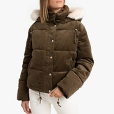 La Redoute Collections Short Padded Puffer Jacket in Corduroy with Faux Fur Hood