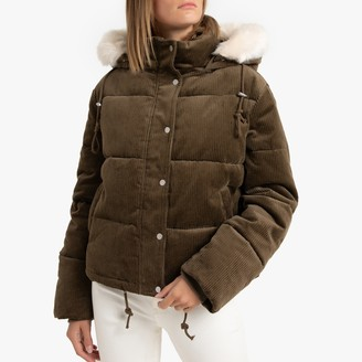 Short Padded Puffer Jacket in Corduroy with Faux Fur Hood