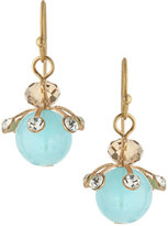 Lydell NYC Golden Crystal Bead Drop Earrings, Blue