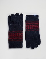 Jack Wills Lambswool Fairisle Gloves In Navy
