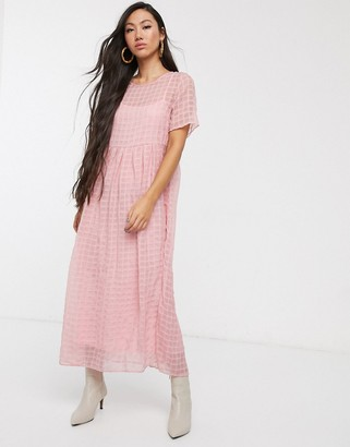 Glamorous relaxed midaxi smock dress in sheer check-Pink