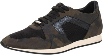 Burberry Multicolor Suede, Leather And Mesh Camo Sneakers Size 41