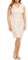 London Times Plus Lace-Trim Shimmer Shutter Dress