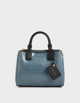 Charles & Keith Croc-Effect Structured Bag