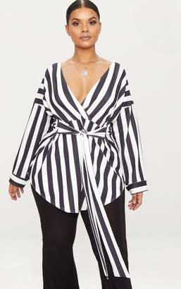 PrettyLittleThing Plus Black Bold Stripe Stretch Tie Waist Blouse