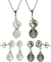 JCPenney FINE JEWELRY Cultured Freshwater Pearl & Crystal 4-pc. Set