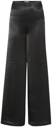 Ganni Polka-dot wide-leg satin pants