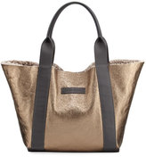 Brunello Cucinelli Shearling-Lined Metallic Leather Tote Bag