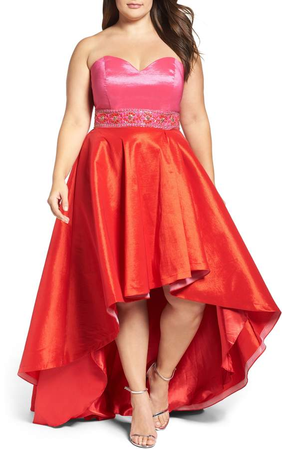 Mac Duggal Strapless Colorblock High/Low Gown