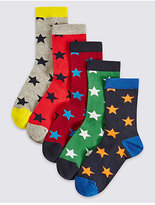 Marks and Spencer 5 Pairs of Cotton Rich Socks (1-14 Years)