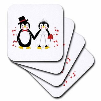 3drose 3dRose Cute Red Hearts Penguin Bride and Groom Wedding Couple - Ceramic Tile Coasters, set of 4