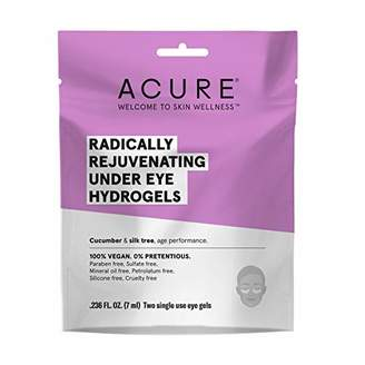 ACURE Radically Rejuvenating Under Eye Hydrogel Mask | 100% Vegan | Provides Anti-Aging Support | Cucumber & Silk Tree - Hydrates & Rejuvenates | 12 Count