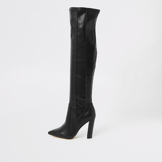 River Island Black wide fit over the knee pointed boots