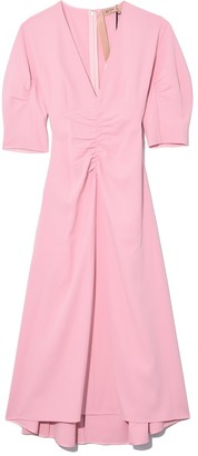No.21 V-Neck Fit and Flare Dress in Rosa