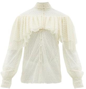 Rodarte Ruffled Floral-applique Swiss-dot Blouse - Womens - White