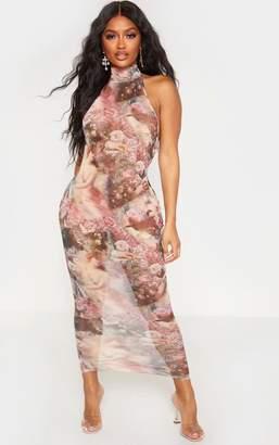 PrettyLittleThing Shape Nude Renaissance Print Mesh High Neck Midaxi Dress