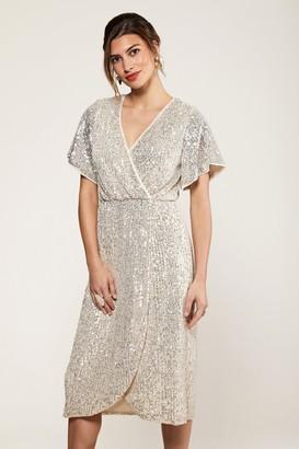 Yumi Silver Sequin Wrap Dress