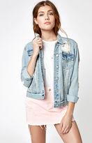 PacSun Pink Destructed Denim Mini Skirt
