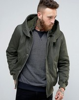 Asos Hooded Jacket With Fleece Hood In Khaki