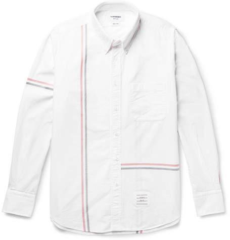 Thom Browne Slim-Fit Button-Down Collar Striped Cotton Oxford Shirt