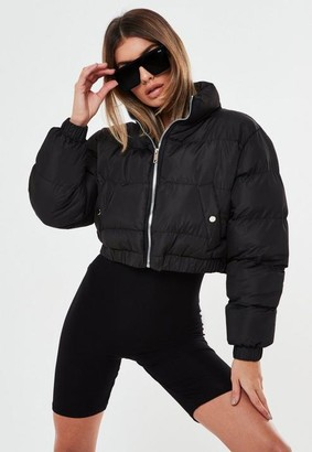 Missguided Black Cropped Padded Puffer Jacket