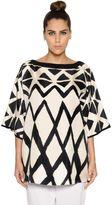 Marina Rinaldi Sequined Neckline Printed Silk Twill Top