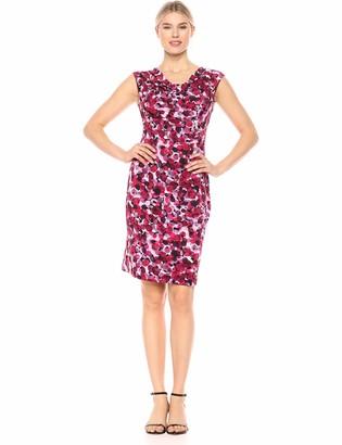 Connected Apparel Women's Cap Sleeve Side Pleat Dress
