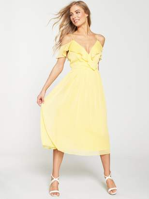 Very Cold Shoulder Woven Midi Dress - Yellow