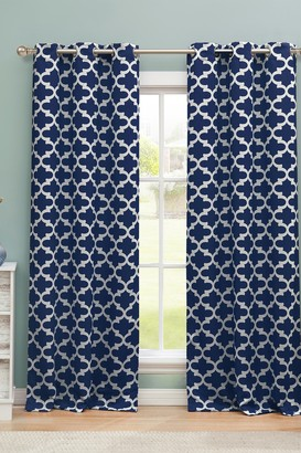 Duck River Textile Kyra Geometric Blackout Curtain Set - Navy