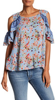 Angie Cold Shoulder Flutter Flower Blouse