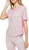 Kensie Animal-Print Color Block Jersey Sleep Top