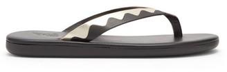 Ancient Greek Sandals Ammos Leather Flip Flops - Black Gold