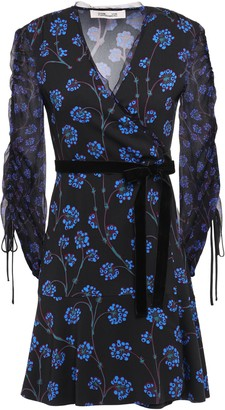 Diane von Furstenberg Velvet-trimmed Printed Crepe And Georgette Mini Dress