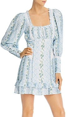 For Love & Lemons Gracie Lace Trim Floral Print Mini Dress
