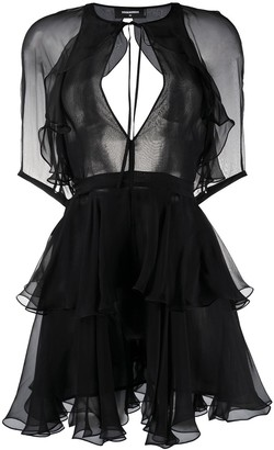 DSQUARED2 Tiered-Ruffle Chiffon Mini Dress