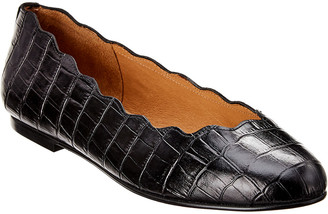 French Sole Razor Croc-Embossed Leather Flat