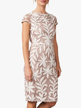 Phase Eight Isobel Floral Tapework Tailored Dress, Taupe/Ivory