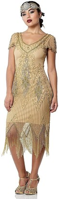Gatsbylady London Annette Fringe Flapper Dress in Antique Gold