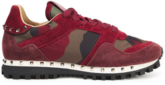 Valentino Studded Printed Shell And Suede Sneakers