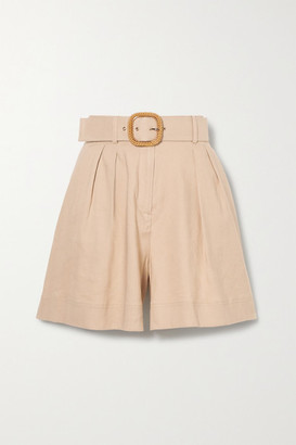Rebecca Vallance Mojito Belted Linen-blend Shorts