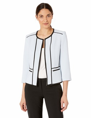 Kasper Women's Jewel Neck Crepe Fly Away Jacket with Black Piping Detail